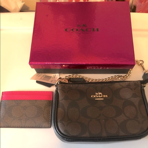 COACH Small wrist bag and small wallet brown